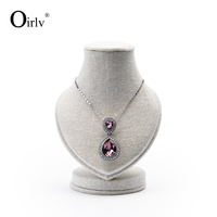 Oirlv Custom Boutique Jewelry Showcase Display Kiosk Stand Cream Linen Neck Bust Form Necklace Display