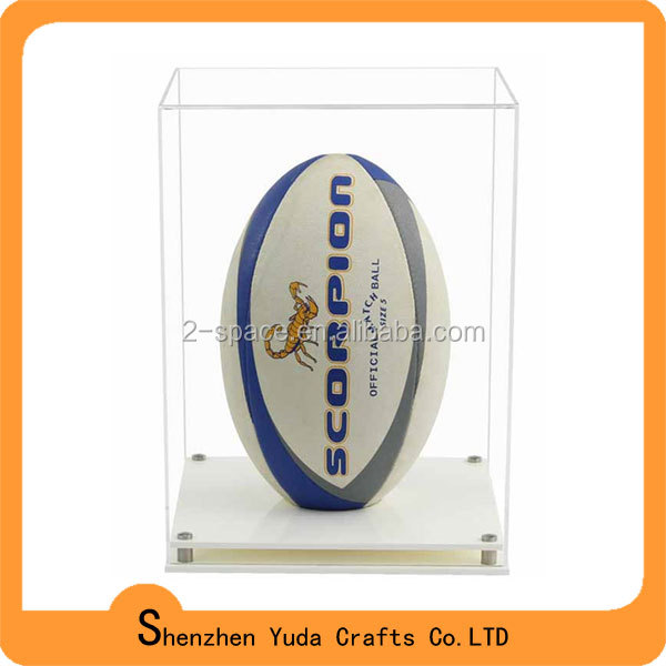 Desktop style clear acrylic perspex rugby display box with base