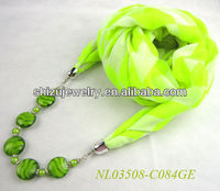 Green white check printed viscose hung murano glass beads and crystal beads and necklace pendant scarf with jewelry for spring