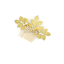 Bridal Hair Accessories Set Wedding Gold Metal Crystal and pearl Flower Leaf Hair Comb With Clip Hairpin For Women