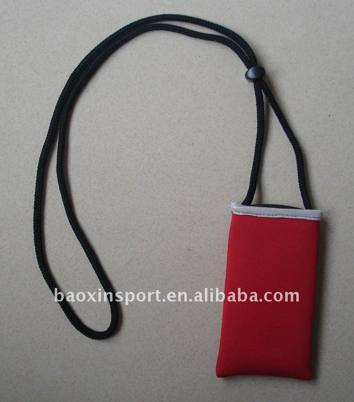 neoprene mobile phone pouch with strap