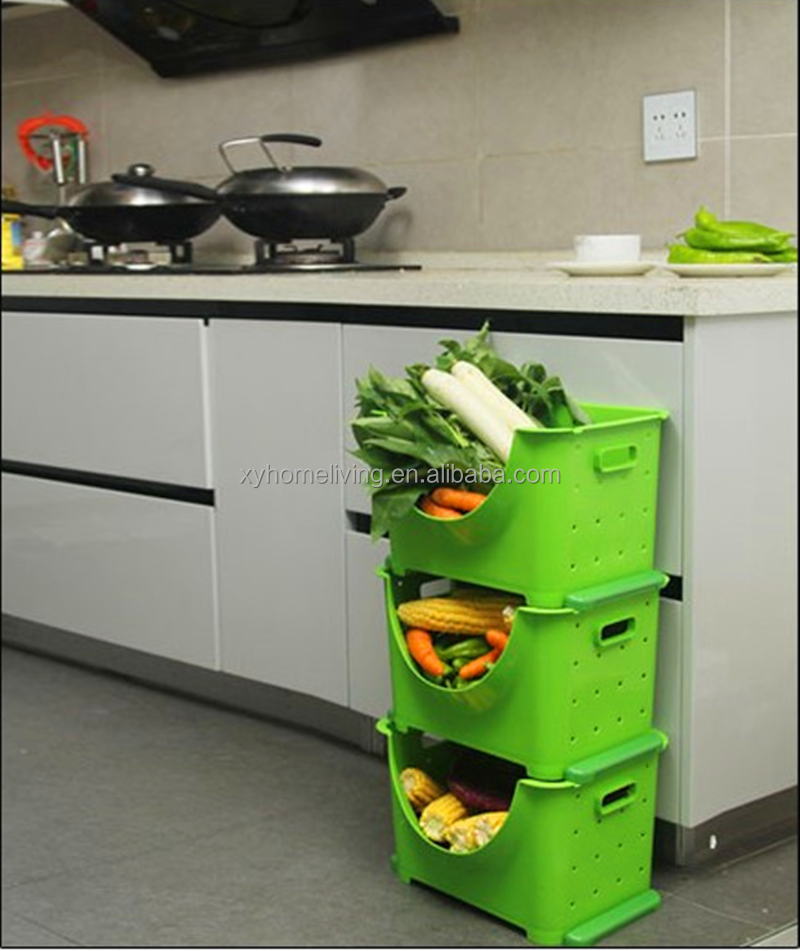 New design kitchen use stackable plastic vegetable bins