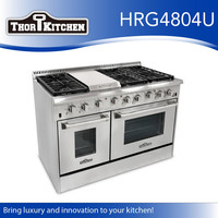 "Thorkitchen 48 "" Stainless Steel 6 Gas Burner double oven gas range"