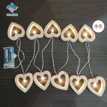 Fancy design wooden heart holiday decoration lighting string