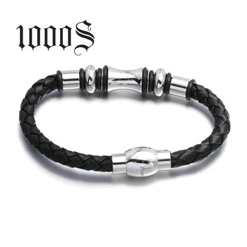 Stocked Supply Costume Fashion Accessory, Silver Chain Leather Bracelet