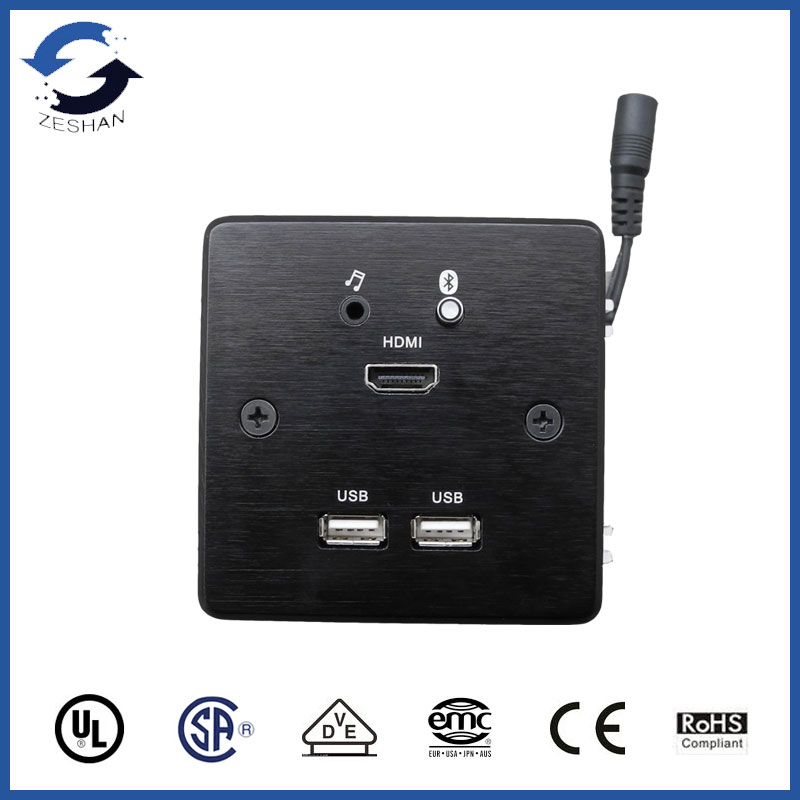 ZS86 Black Aluminum Wall Plates with VGA and HDMI