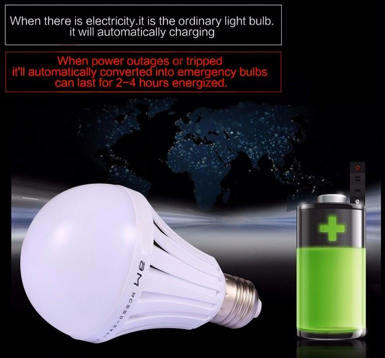 2017 Best selling emergency led bulb E27 B22 base 5w 7w 9w 12w battery operated led light rechargeable led emergency bulb