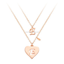 2016 Best selling wholesale custom fake gold couple layers tiny initial letter pendant jewelry necklace