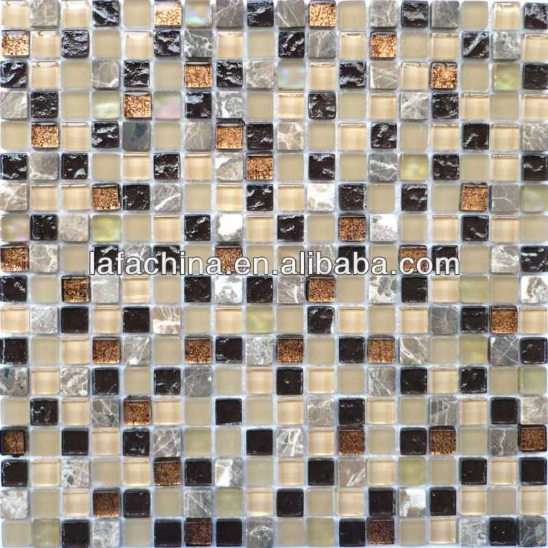 Small square color blend crystal ice broken glass mosaic tile