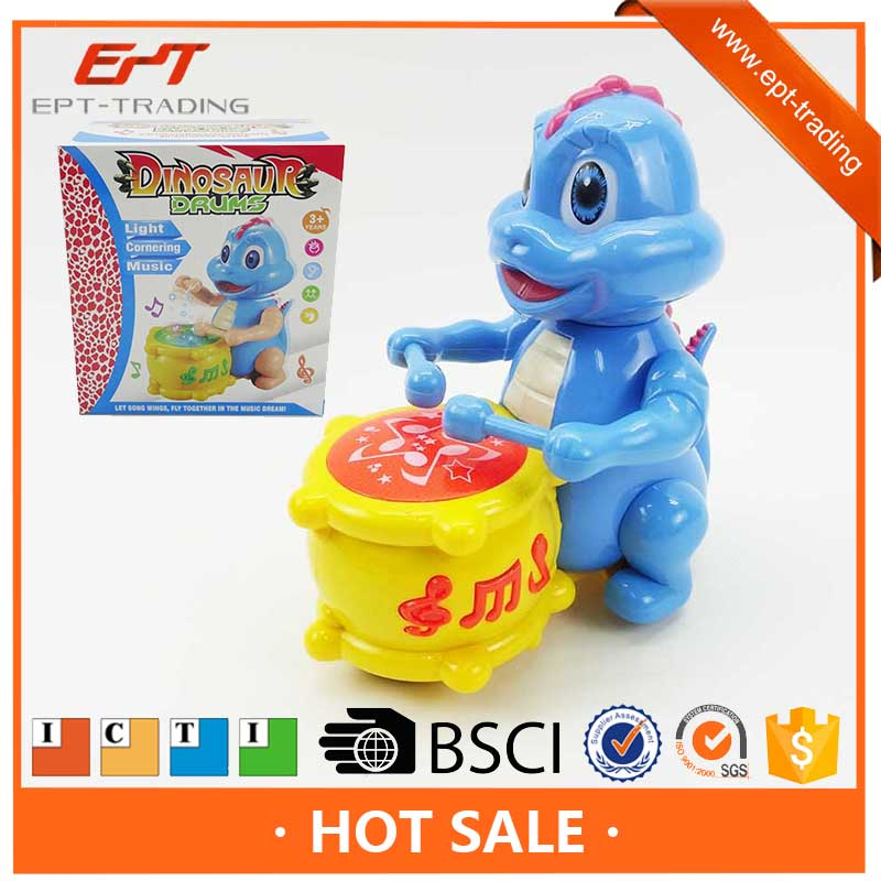 Funny electric toys battery operated cartoon dinosaur play drum with light