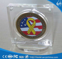 Clear Acrylic Military Challenge Coin Poker Chip Display Case Holder Stand with Magnetic Fasteners