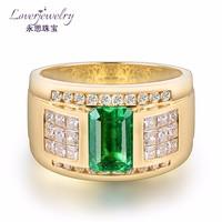 1.9 Carat Emerald Mens Rings Dubai 18K Gold Jewellery Wholesale