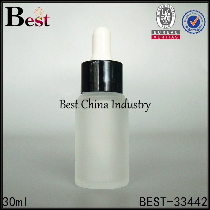 best selling products custom silk screen printing e liquid oil 30ml cosmetic frosted glass dropper bottle
