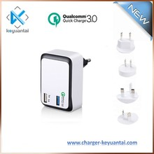 smartphone machine charger dual usb wall charger, 12v 1.5A quick charge 3.0 wall charger
