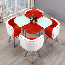 Bazhou modern furniture price save sapce small house room 12mm thick tempered glass metal round dining table 4 seater chairs set