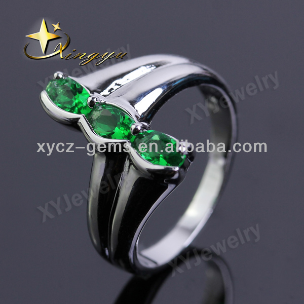 Elegant green emerald cz engagement ring