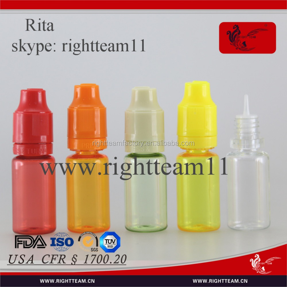 CFR certificate 10ml bottle PET eliquid dropper bottle 10ml childproof&tamper cap PET bottle