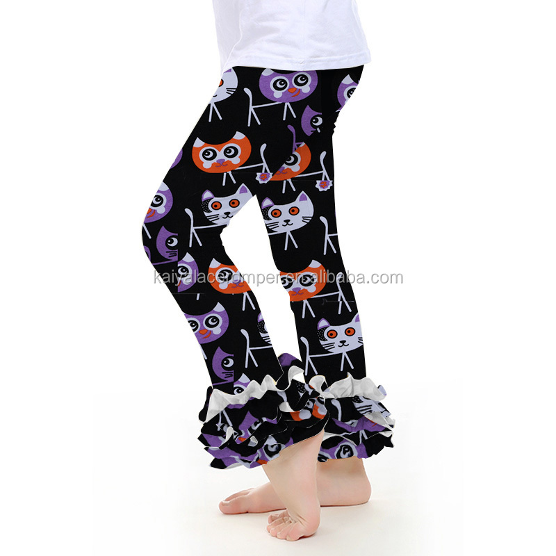 Halloween wholesale ruffle girls legging