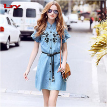 2017 Summer new arrival elegent girls belted demin skirts embroidered jeans dress for women
