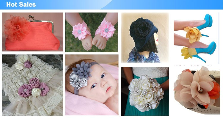 Various colors fashion burnt hair flower accessories for baby girl