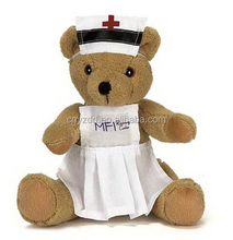 brown nurse bear/plush doctor bear toy/doctor teddy bear