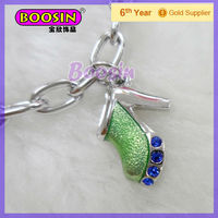 Clear Enamel Light Green High Heel Shoes Charm with Sapphire #8