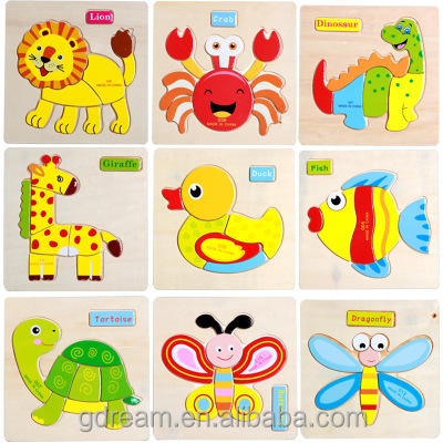 2017 best seller 3D Children wooden jigsaw piece animal puzzle