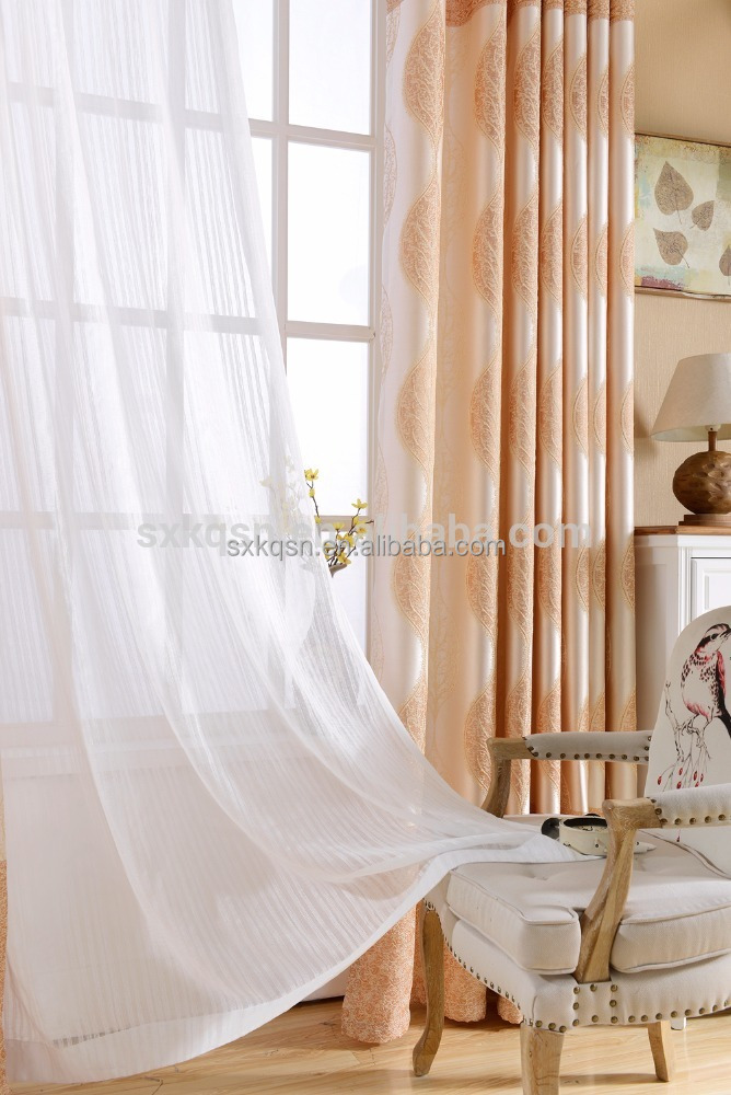 Normal blackout curtain polyester tulle embroidered sheer fabric voile curtain