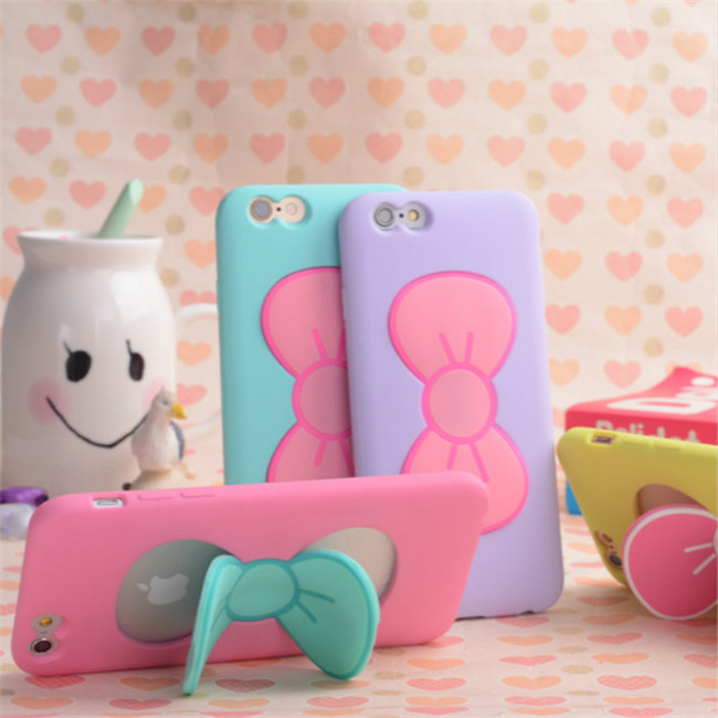 Silicone Case Soft Bowknot Stand Back Cover Mobile Phone Bag Cases Skin Covers for iphone 5s/5SE/6/6s/7/7 Plus