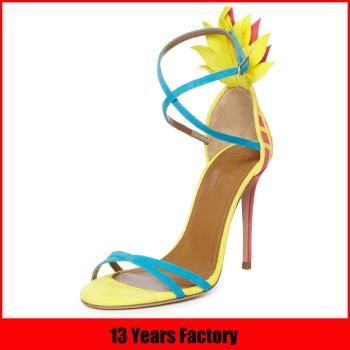 Luxurious design new elegant leather upper butterfly pointed toe high heel shoes sandal for ladies sandals