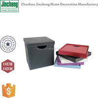 Faux leather foldable box storage, underwear storage box, leather storage box