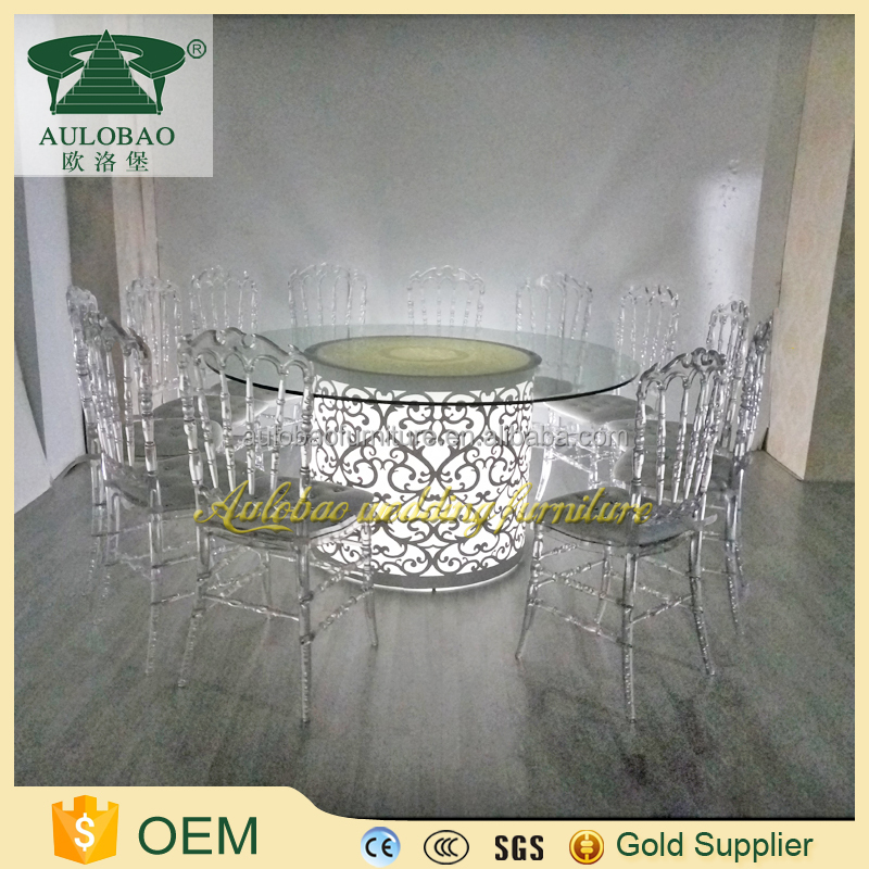 Luminous furniture glass dinning table set modern