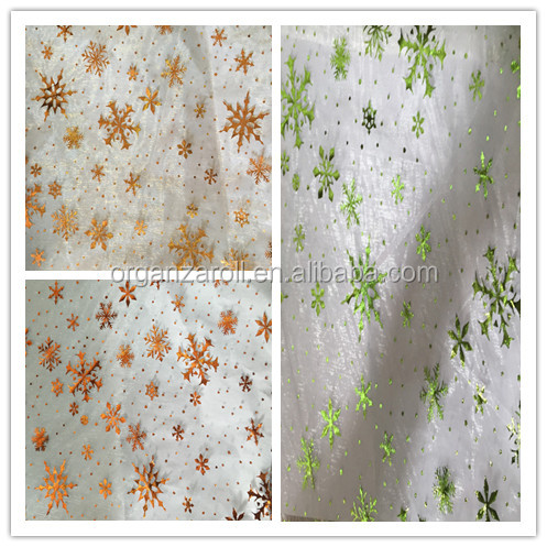 high quality foil printed organza fabric christmas decorative snowflake design printed organza