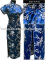 Long length dark blue chinese style silk cheongsam dress