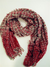 Red/White checked Woven Scarf/Shawl