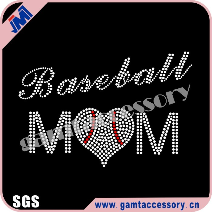 Bling baseball mom Rhinestone Iron on Transfer Fashion Design