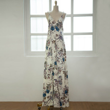 UK Bohemia Style Sexy V neck strap Harness Halterneck orient flower printed Maxi cotton Party Holiday swing Dress