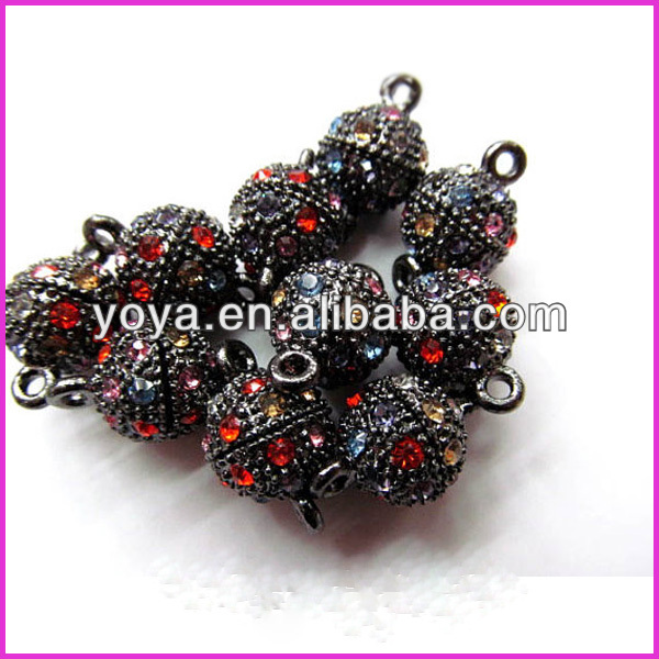 JF1284 Gunemtal Black Ball Magnetic Clasps,Red Rhinestone Crystal Magnetic Clasps,Jewelry Clasps