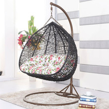 hot sale while black color rattan swing chair double hanging chair