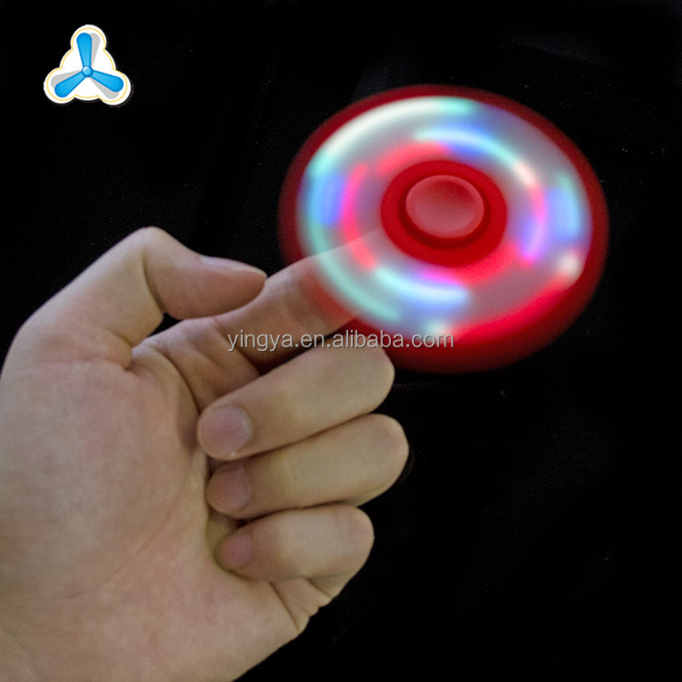 Wholesale adhd fidget toy 2 kinds flashing mode LED silicone hand spinner