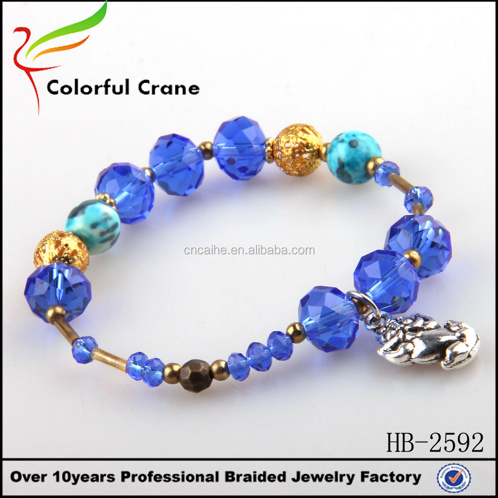 Sea blue handmade glass bracelet fashion crystal bead bracelet