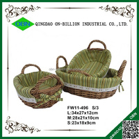 New design small fabric lined cheap wicker baskets mini