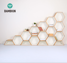 BAMBKIN Bamboo Hexagonal box showing stand decorative storage box book shelves book rack booxcase showcase