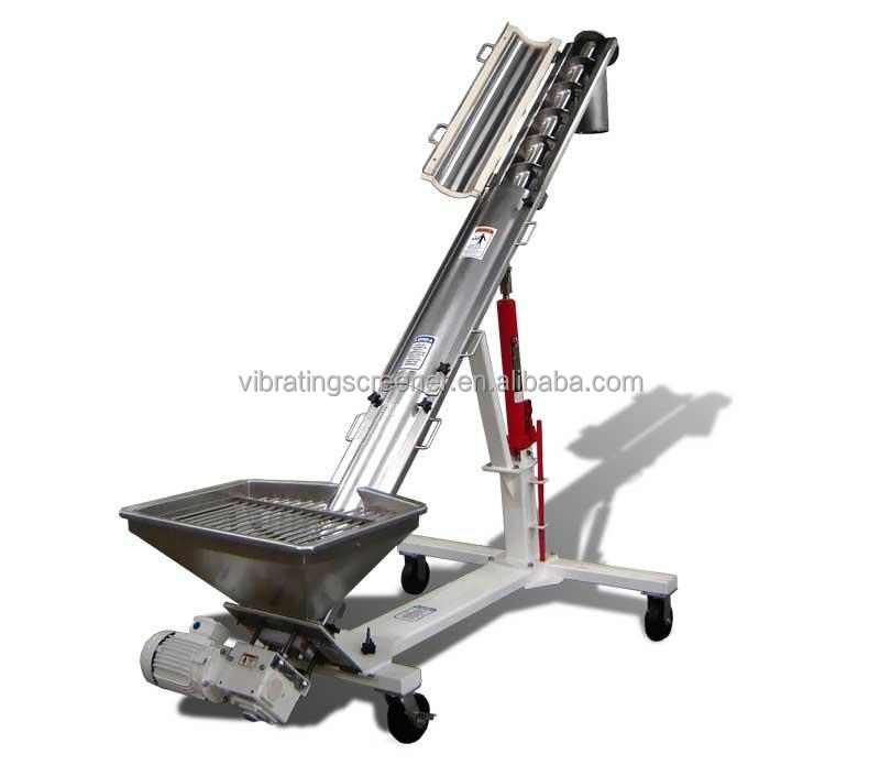 Portable Adjustable Auger Stainless Steel Screw Conveyor With Hopper