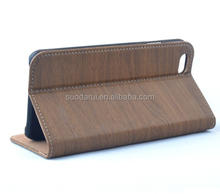 ID Card Pockets Wooden Skin Leather Book Style Wallet Cover Case for iPhone 5C