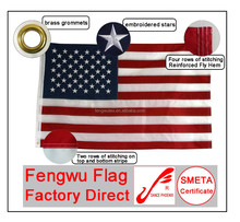 Factory direct 3x5ft 210D Nylon Embroidery stars sewn stripes USA flag