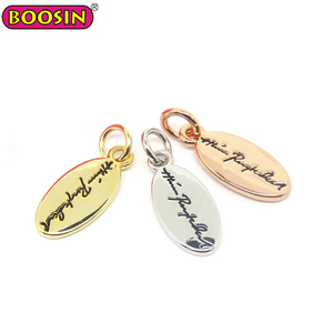 Custom made metal logo engraved jewelry tags pendant charms, brand logo metal tag
