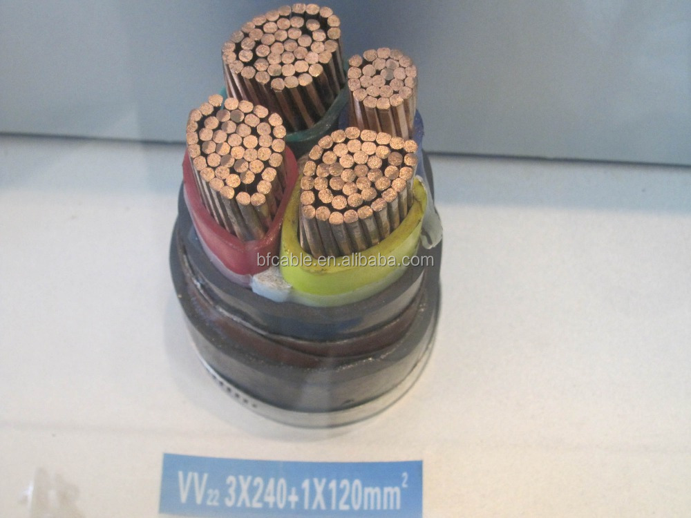low voltage copper core 240mm2 power cable pvc insulation