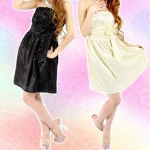 Shiny Spangled Satin Mini Dress with Ribbon 016