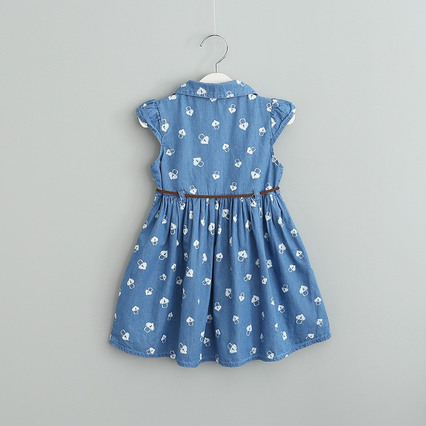 2017 Wholesale kids frock design sash belt cap sleeve 2-8y girl summer jeans dress baby smocking casual dress denim skirt